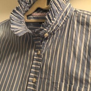 GAP Striped Pleated Mock Neck Button Down Sz Sm